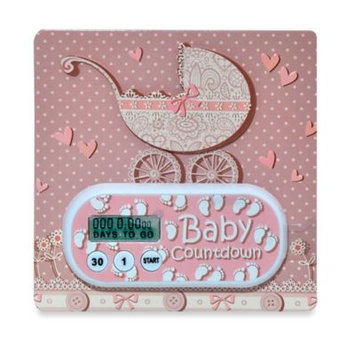 Timeflyz Countables Baby Due Timer: Pink Baby Carriage