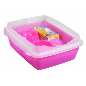 Doskocil Manufacturing Dosckocil (Petmate) CDS22147 Cat Litter Pan Starter Kit, Large, Translucent Pink