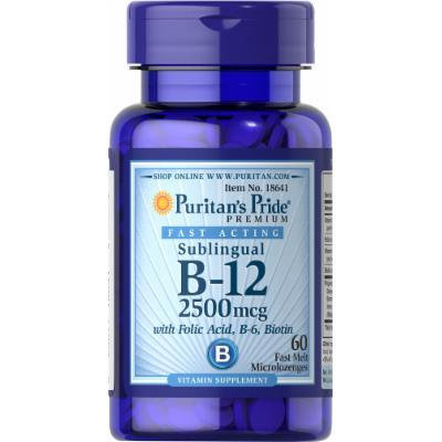 Puritan's Pride Vitamin B-12 2500 mcg Sublingual with Folic Acid, Vitamin B-6 and Biotin-60 Microlozenges
