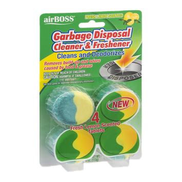 airBOSS Garbage Disposal Cleaner & Freshener Fresh Lemon Scented - 4 CT