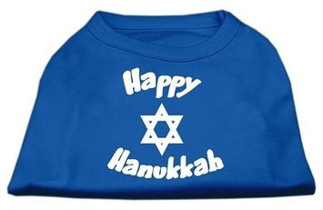 Ahi Happy Hanukkah Screen Print Shirt Blue XXL (18)