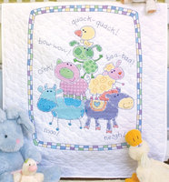 Dimensions Baby Hugs Farm Friends Quilt Stamped Cross Stitch Kit