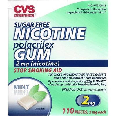 nicotine gum CVS Sugar Free Nicotine Polacrilex Gum 110 Pieces (2mg Nicotine) Stop Smoking Aid ~ Mint Flavor