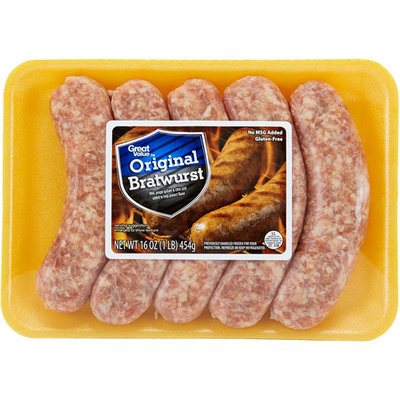 Great Value Original Bratwurst, 16 oz