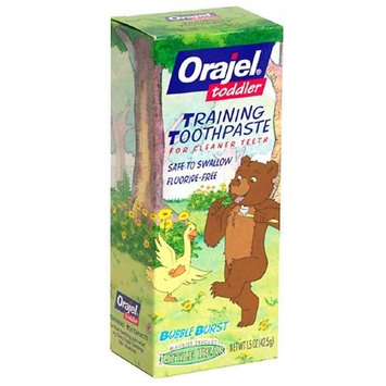 Victory Wholesale Grocers Orajel Toddler Training Toothpaste for Cleaner Teeth, Little Bear, Bubble Burst ,2 oz (56.7 g)
