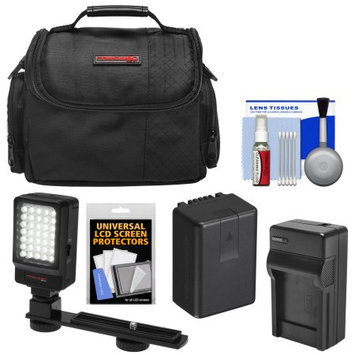 Precision Design Essentials Bundle for Panasonic V160 V180 V380 V770 VX981 W570 W580 WX970 WXF991 with Battery & Charger + Case + LED Video Light + Kit
