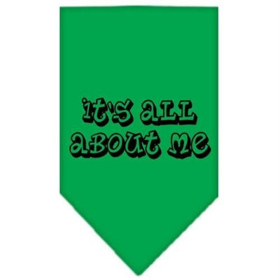 Mirage Pet Products 6644 SMEG Its All About Me Screen Print Bandana Emerald Green Small