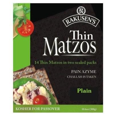 Rakusen Thin Matzos Crackers, Plain, 10.5 Ounce (Pack of 12)