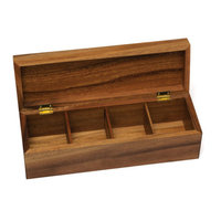 Lipper International Acacia 4 Sections Tea Box