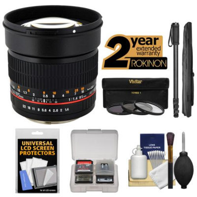 Rokinon 85mm f/1.4 Aspherical Lens with 2 Year Ext. Warranty + 3 Filters + Monopod Kit for Fuji X-A1, X-E1, X-E2, X-M1, X-T1, X-Pro1 Cameras