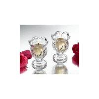 Studio Silversmiths Small Crystal Hurricane Votive Candleholders - Set OF 2