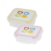 Innobaby Square Food Storage Container, 2 Pack, Stage 2, Yellow/Pink