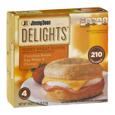 Jimmy Dean Delights Honey Wheat Muffin Canadian Bacon, Egg White & Cheese - 4 CT