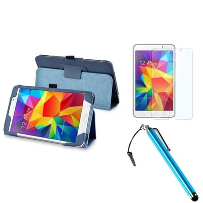 Insten INSTEN Navy Blue Leather Stand Case+Protector+Stylus w/3.5mm Plug Cap For Samsung Galaxy Tab 4 7.0 7