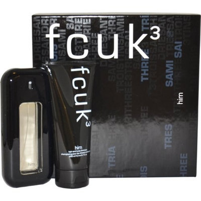 fcuk 3 by French Connection UK for Men Gift Set 3.4 Ounce EDT Spray, 6.7 Ounce Hair and Body Shampoo