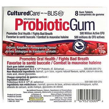 Oral Probiotic Blis-k12 Gum CulturedCare Oral Probiotic Blis-K12 Organic Raspberry-Pomegrante, 8 pieces