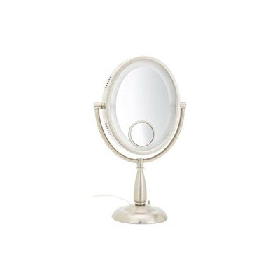 Jerdon Oval Lighted Table Top Mirror with 3