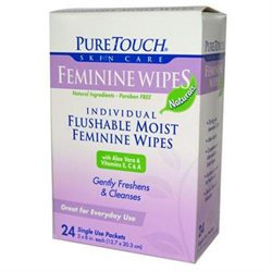 Puretouch Skin Care 0394072 Feminine Wipes Flushable - 24 Wipes