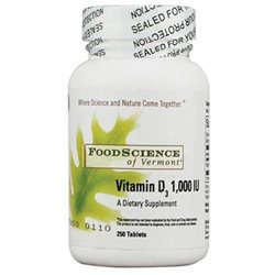 Food Science Labs 0272666 FoodScience of Vermont Vitamin D3 - 1000 IU - 250 Tablets