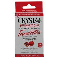 Crystal Essence Mineral Deodorant Towelettes Pomegranate