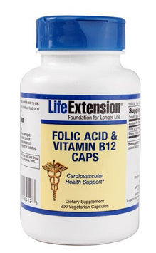 Folic Acid & Vitamin B12 Caps, 200 vegetarian capsules
