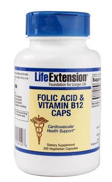 Folic Acid & Vitamin B12 Caps, 200 vegetarian capsules