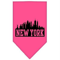 Mirage Pet Products 6675 SMBPK New York Skyline Screen Print Bandana Bright Pink Small
