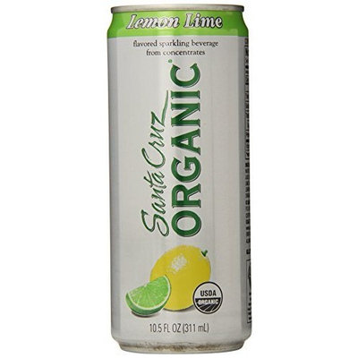 Santa Cruz Organic Lemon Lime Flavored Sparkling Beverage, 4-count, 10.5 Ounce (Pack of 6)