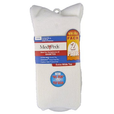 Medi Peds Extra Wide Crew Socks Large 2 Pair