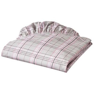 Eddie Bauer Pink Plaid Fitted Crib Sheet