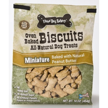 Three Dog Bakery Biscuits Miniatures Peanut Butter, Baked Dog Treats, 16-Ounce