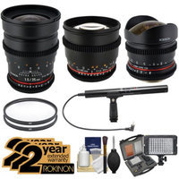 Rokinon Cine Lens Bundle with 8mm T/3.8, 35mm T/1.5 & 85mm T/1.5 (for Nikon DSLR Video) + 2 Year Ext Warranties + LED Video Light + Pro Microphone + Filters Kit