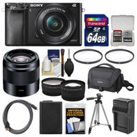 Sony Alpha A6000 Wi-Fi Digital Camera & 16-50mm Lens with 50mm f/1.8 Lens + 64GB Card + Case + Battery/Charger + Tripod + Tele/Wide Lens Kit