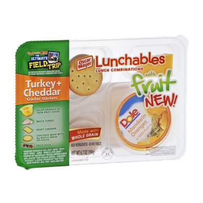 Oscar Mayer Lunchables Turkey+Cheddar Cracker Stackers with Fruit Lunch Combinations