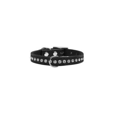 Mirage Pet Products 83-04 12Bk One Row Jewelled Leather Black 12