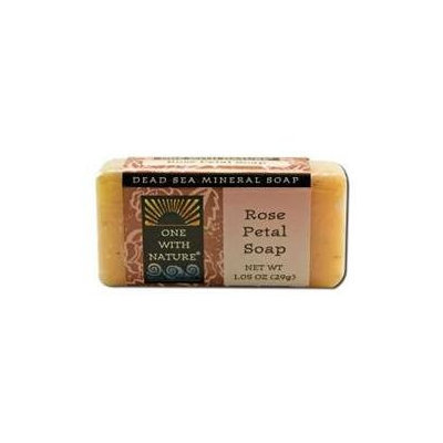 One With Nature, Dead Sea Mineral Soap Rose Petal Travel Size 1 oz