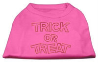 Mirage Pet Products 521304 LGBPK Trick or Treat Rhinestone Shirts Bright Pink L 14