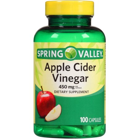 Spring Valley Apple Cider Vinegar Dietary Supplement Capsules, 450mg, 100 count