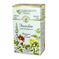 Celebration Herbals Organic Feverfew Lemongrass Tea Caffeine Free -- 24 Herbal Tea Bags