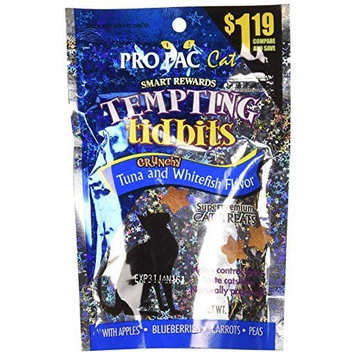 PRO PAC Tempting Tidbits Crunchy Tuna and Whitefish Cat Treat, 3-Ounce Bag