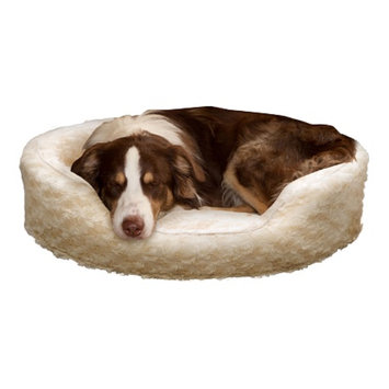 PAW Snuggle Round Comfy Fur Pet Bed, Medium, Cream, 1 ea
