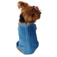 Anima Blue Zipper Dog Sweater, Small ()