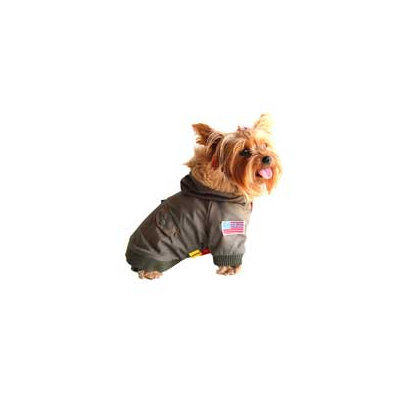 Anima Green Dog Bomber Jacket, X-Small