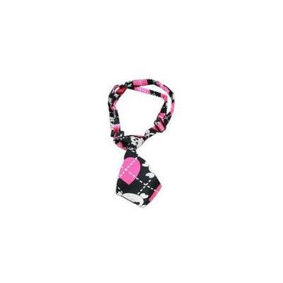 Ahi Dog Neck Tie Pink Argyle Skull
