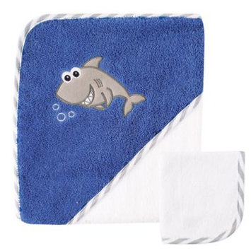 Luvable Friends Hooded Towel with Washcloth, Shark