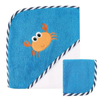 Luvable Friends Hooded Towel with Washcloth, Crab