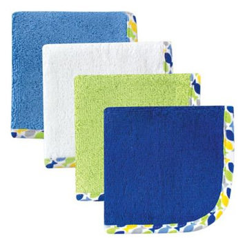 Hudson Baby Print Woven Washcloth, 4pk, Boy, Multiple Colors