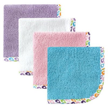 Hudson Baby Print Woven Washcloth, 4pk, Girl, Multiple Colors