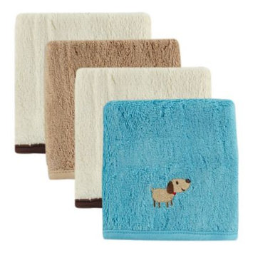 Hudson Baby Bamboo Embroidered Washcloth, 4pk, Boy, Multiple Colors