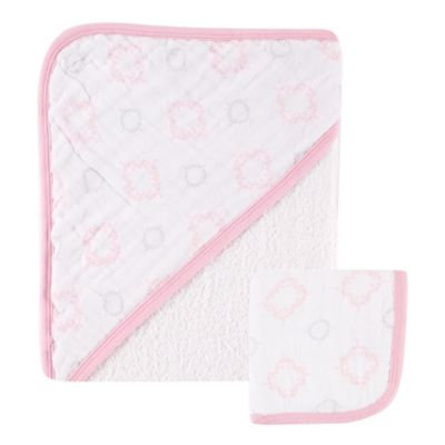 Hudson Baby Muslin Hooded Towel and Washcloth, Damask